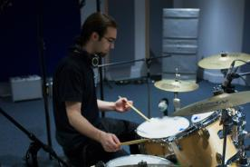 playing some drums on a session